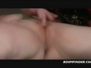 Femdom whips and electro plays her bound submissive lesbian