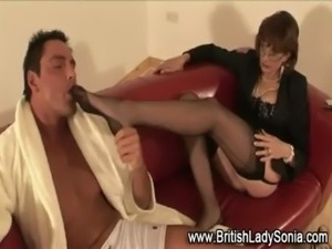 British Lady Sonia in stockings free