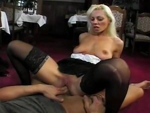 Horny blond doing what she is good at.