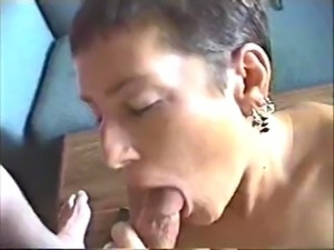Roxy strips, teases herself for the camera, then sucks cock & plays with cum