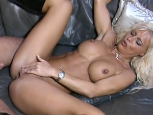 Hot blonde MILF woke up her guy with a mild blowing blow-job as she grabs his...