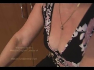 Attractive busty granny with hairy pussy in teasy workout