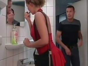 Slut blond in toilet men