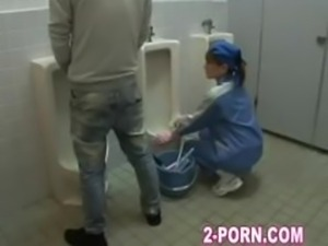 cute cleaner gives blowjob in washroom 001
