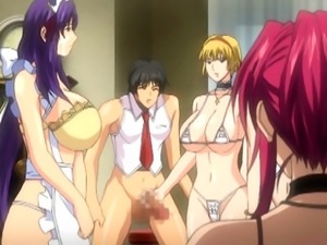Busty hentai maids group oralsex and facial cumshot