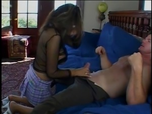 Big tit brunette with a great shaved pussy gets fucked hard by an older man