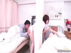 Sexy Japanese nurse gives a patient some part3