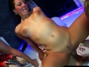 Crazy babes share big dicks at the disco party