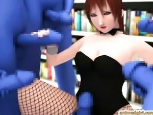 3d hentai girl gets tentacles octopus squeezi