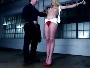 Horny fetish bondage blonde gets whipped