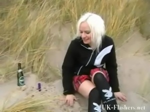 Beach babe pissing in public and amateur blonde exhibitionist squirting...