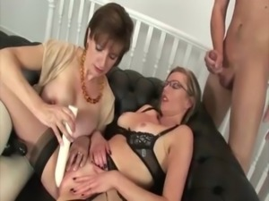 Cock riding duo get down for some hard action on a couch free