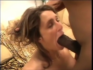 Brunette with big tits plays with a vibrator while giant cock fucks her ass