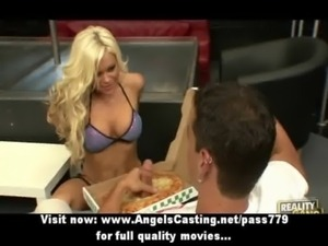 Hot blonde in striptease bar does blowjob for guy with pizza on cock free
