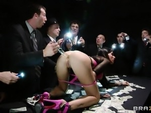 hot brunette chick having anal on a table with money