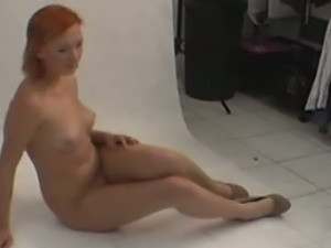 Backstage with real 18yo european redhead