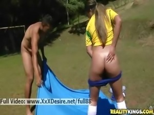 Fernenda _ Brazilian soccer babe sucking and riding a nice cock outdoors