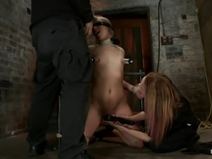 brunette chick blindfolded and mouth fucked in bdsm session