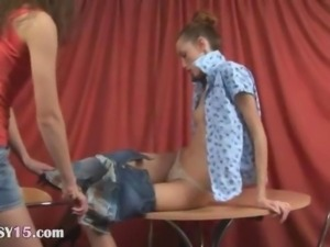 Super rawboned girls naked on the table