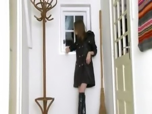 gagging witch in high black boots