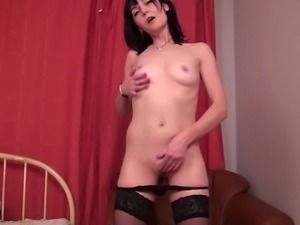 emily is masturbating very nice and slow in the bedroom
