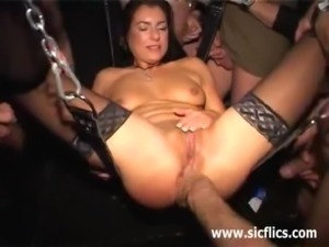 Extremely brutal gang bang fist fucked whore free
