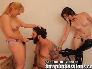 Tiny Dixie and the StrapOnPrincess take over this biker dude Bruces' ass!...