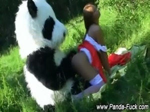 Weird plush panda uses strapon free
