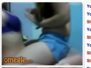 Omegle Capture: Lesbians playing and showing their tits on webcam free