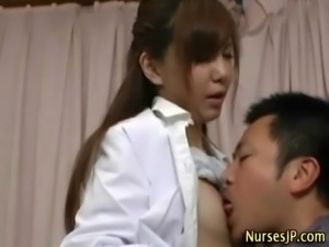 Hot asian nurse hottie gets fingered free