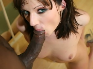 Ava Rose looks great with a black cock in her puss