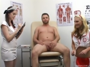 dude gets jerked off by clothed nurses