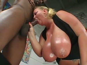 Big blonde sienna eats black cock
