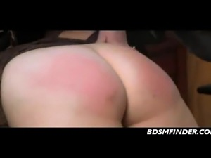 Chubby femsub in stockings gets her chubby ass spanked in her office