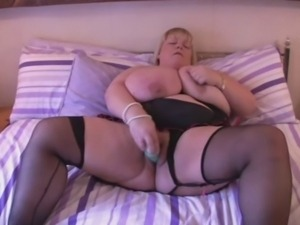 BBW  Huge Tits British Blonde Fingers on Bed