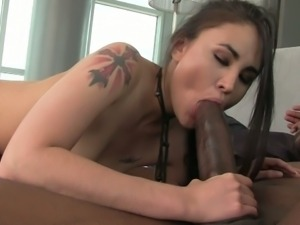 Asian babe jade takes on a black monster