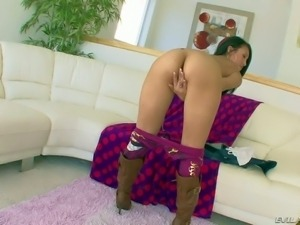 Provocative long haired slutty asian brunette Jayden Lee with medium