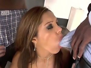Sexy slutty babe is in for a rude shock as two guys are after her juicy cunt...