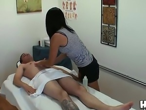 The good-looking brunette pornstar Yuki Mori makes a good massage to the...