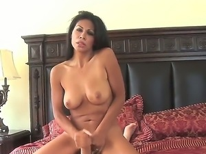 Exciting Latina brunette Cassandra Cruz with big natural boobs and trimmed...