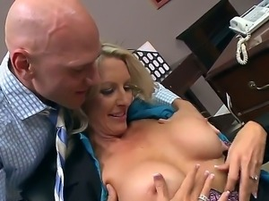 Emma Starr is dragged into office room by Johnny Sins and instantly mouth-fucked