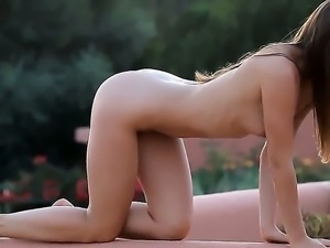 Adorable goddess Guerlain with beautiful long hair, trimmed pussy and slender...