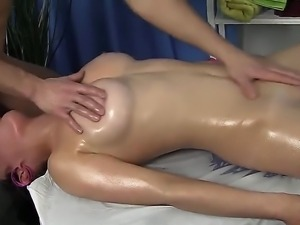 Oiled and nasty brunette Mandie feels fingers in her pussy and dick in her...
