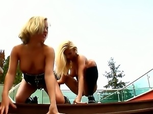 Lovely blonde Britney D gets her tight twat fingered zealously by horny...