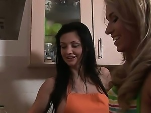 Sweet and very nice lesbian scene with sexy girl Aleska Diamond and Aletta Ocean