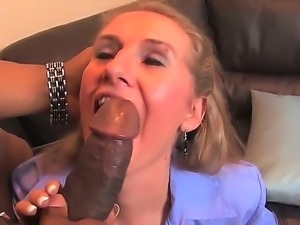 Blonde milf Sara James gets her tight mature pussy deep drilled by black stud...