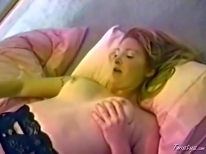 Turned on lusty adorable blonde lezzies with nice natural boobs
