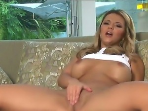 Beautiful arousing blonde babe Ashlynn Brooke with firm balloons teases and...