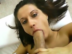 Dark haired babe Madlin is sucking a nice cock of her neighbor who films all...
