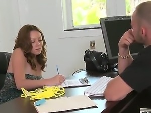 The attractive brunette whore dress swimsuit in front of her playful boss for...